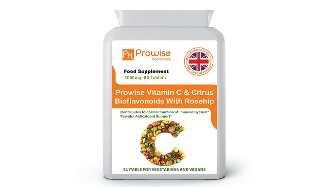 3-Month Supply of Extra Strength Vitamin C Tablets - 90 Capsules