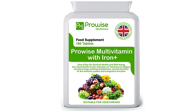 6-Month Supply of Prowise Multi Vitamins & Iron Tablets - 180 Tablets